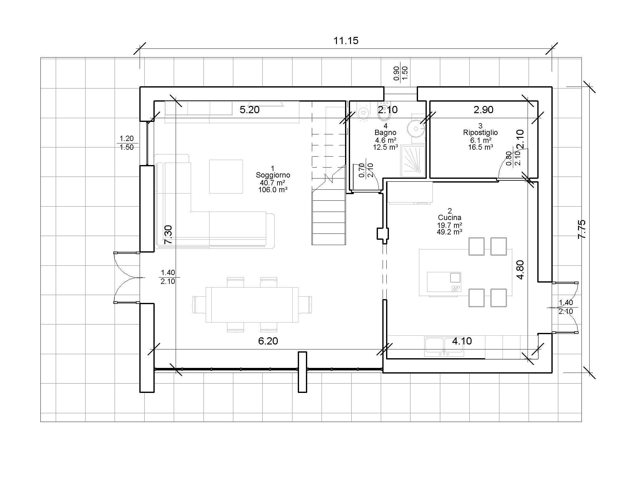 Progetti villette piano terra villa stile misto with for Progetto piano terra